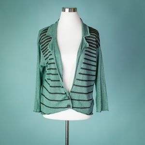 Free People Small Striped Linen Cardigan